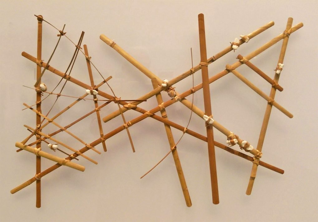 Navigational chart from the Marshall Islands, made of wood, sennit fiber, and cowrie shells. [Wikimedia/UC Berkeley]
