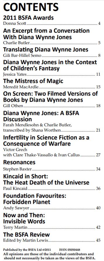 Contents page of Vector special on Diana Wynne Jones